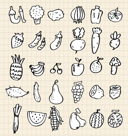 hand draw vegetables Vector