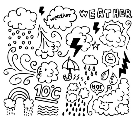 Set of grunge weather hand drawing icons Stock Vector - 8493699