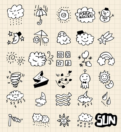lined paper background: hand draw weather