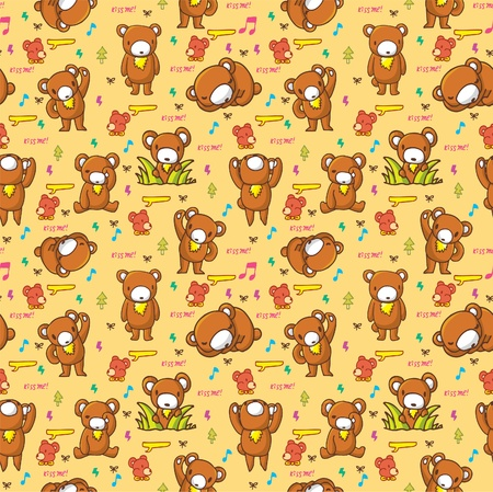 cute bear seamless pattern Vector
