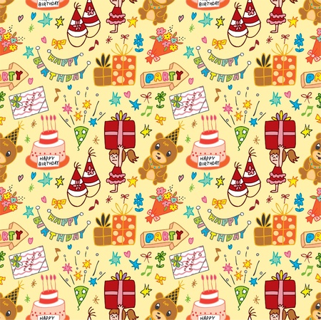 cute birthday seamless pattern Vector