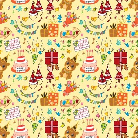zauberhaft: cute Geburtstag seamless pattern