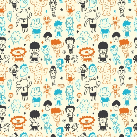 personages: cute cartoon pattern seamless Illustration