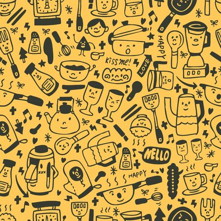 cute yellow cartoon seamless pattern Vector