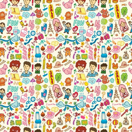 cute cartoon seamless pattern Stock Vector - 8487147