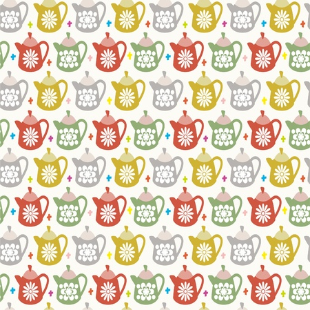 vintage dishware: teapot seamless pattern Illustration