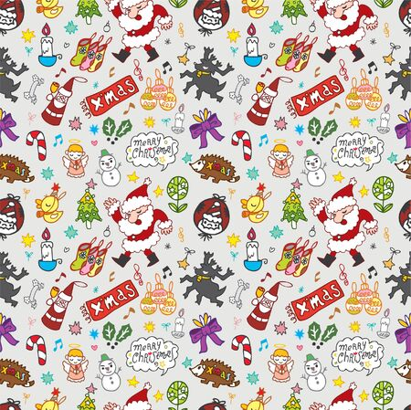 Seamless Christmas funny cartoon Vector