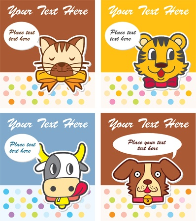 cute animal card 向量圖像