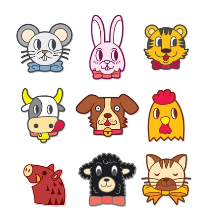 cute cartoon animal head Vector