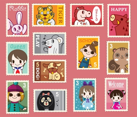 cute cartoon stamps Stock Vector - 8487033