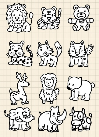 foxes: cute cartoon animal icon Illustration