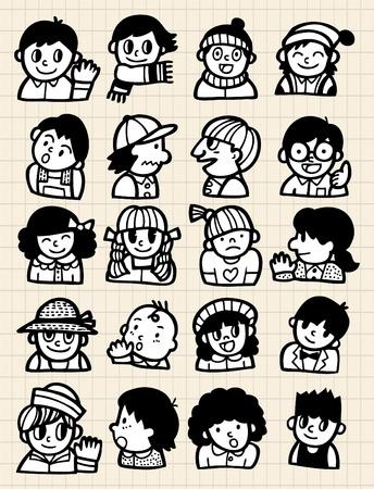 cartoon people doodle 일러스트