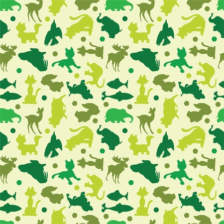 animal silhouettes seamless pattern Vector