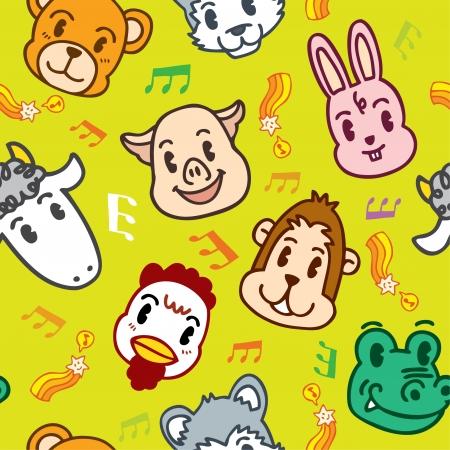cartoon park: seamless animal pattern