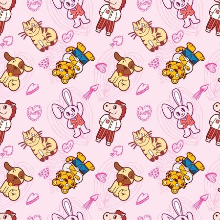 seamless cute animal pattern Vector