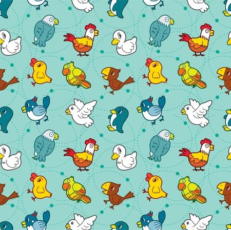 seamless bird pattern Vector