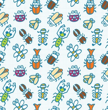 seamless cute bug pattern Stock Vector - 8486750