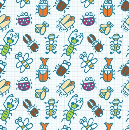 seamless cute bug pattern Vector