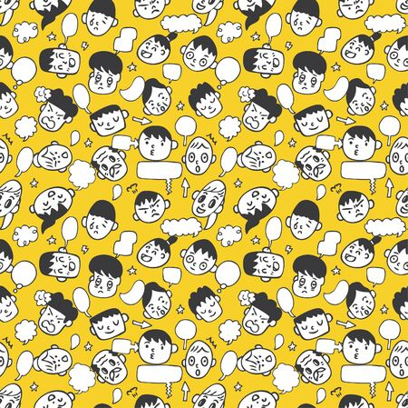 seamless cute face pattern Vector