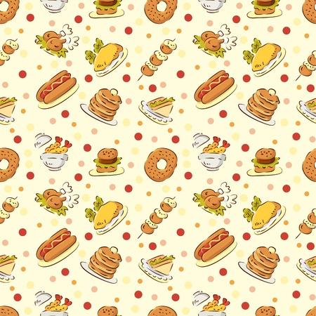 원활한 귀여운 음식 패턴 일러스트