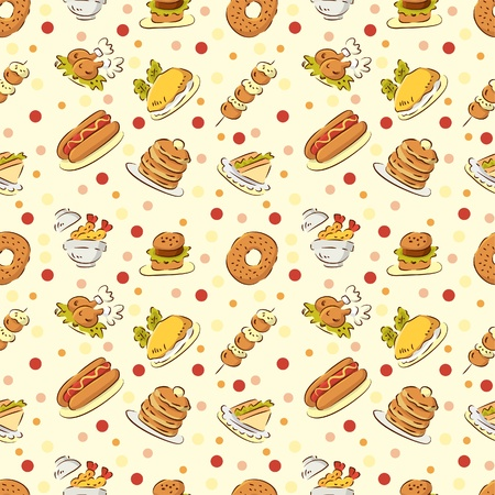 seamless cute food pattern Stock Vector - 8480515