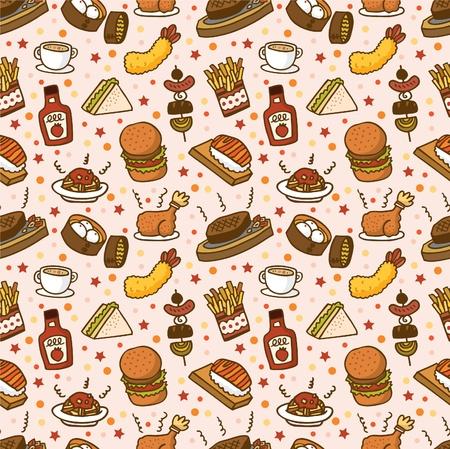seamless food pattern 일러스트