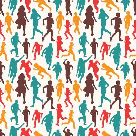 seamless people pattern Vector