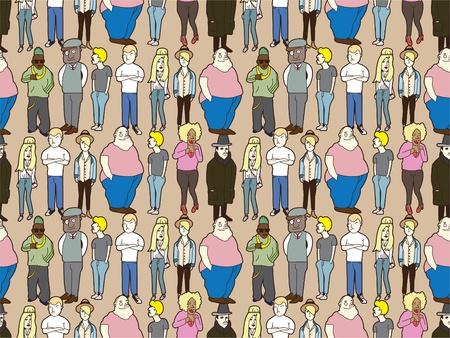 senile: seamless people pattern Illustration