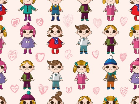 seamless cute cartoon pattern Stock Vector - 8480516