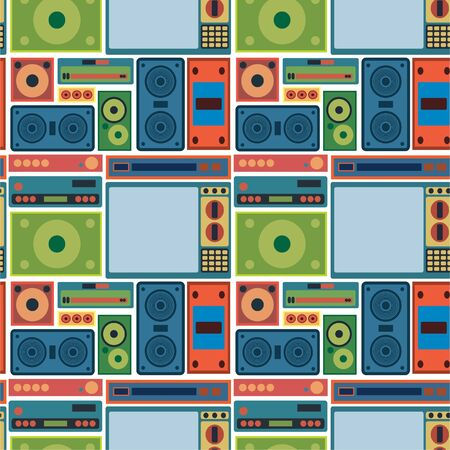tv radio seamless pattern Vector