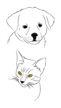 dog sleeping: doodle dog and cat Illustration