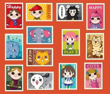 cute cartoon stamps Stock Vector - 8480500