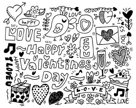 baiser amoureux: Le jour de la Saint-Valentin griffonnage