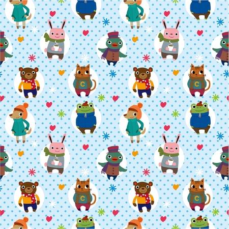 seamless winter animal pattern Stock Vector - 8486721