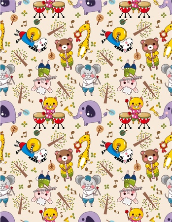 seamless animal music pattern Vector