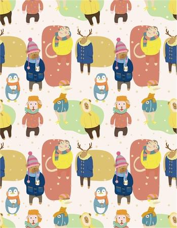 seamless winter animal pattern Vector
