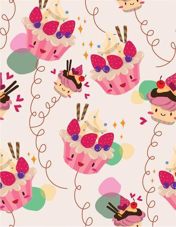 Taste: seamless cake pattern Illustration