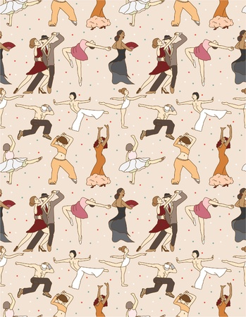 seamless dancer pattern Vector
