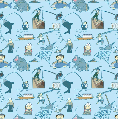 seamless fishing pattern Vector
