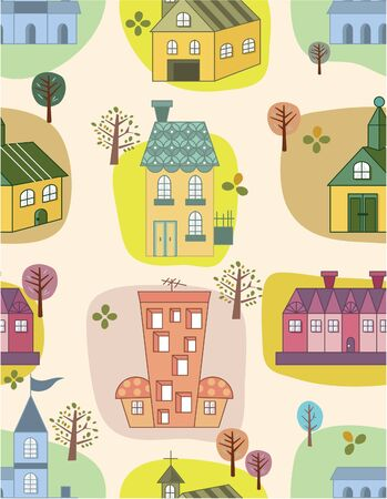 seamless house pattern Stock Vector - 8472559
