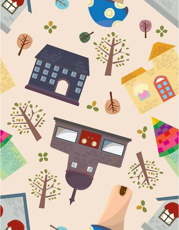 seamless house pattern Stock Vector - 8472558