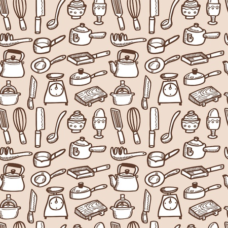 seamless kitchen pattern Stock Vector - 8472570