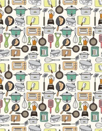 kuchnia: deseń bezszwowych kuchnia Ilustracja