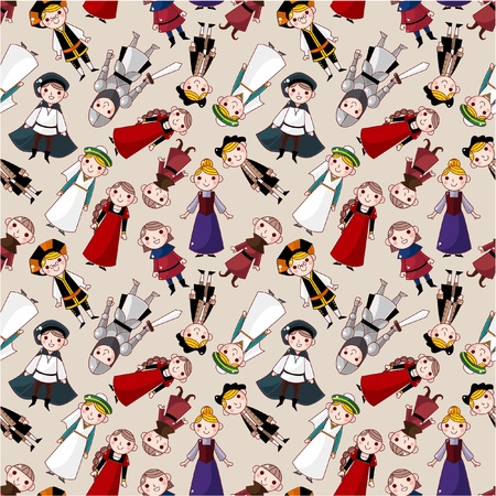 wench: seamless medieval people pattern