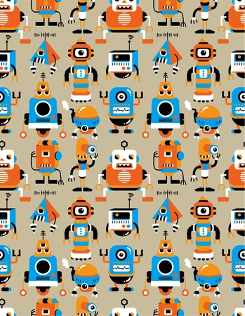 ufo: seamless Robot pattern Illustration