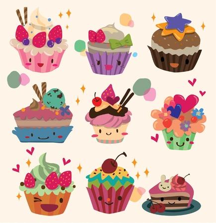 chocolate cupcakes: cartoon cake Illustration