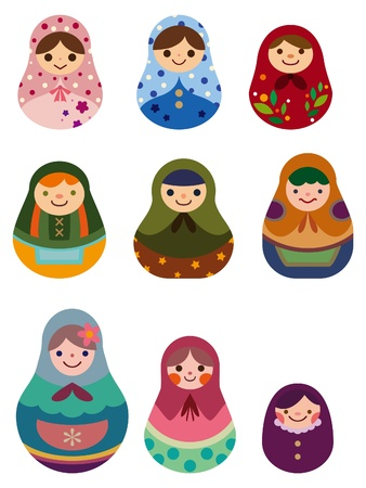 russian culture: cartoon Russian dolls Illustration