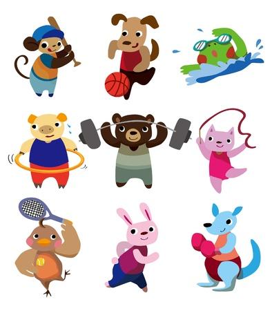 caricature animaux sport Vecteurs