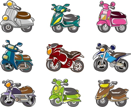 scooter: Cartoon motorfiets Stock Illustratie