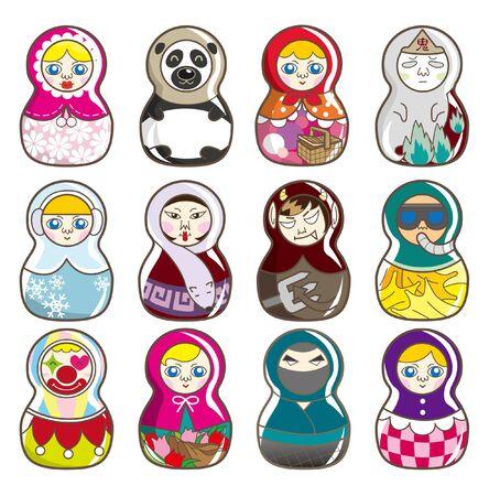 babushka: cartoon Russian dolls Illustration